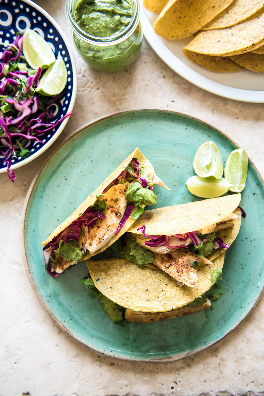 """Fish Tacos with Lime Slaw and """"Uh-Mazing"""" Green Sauce 