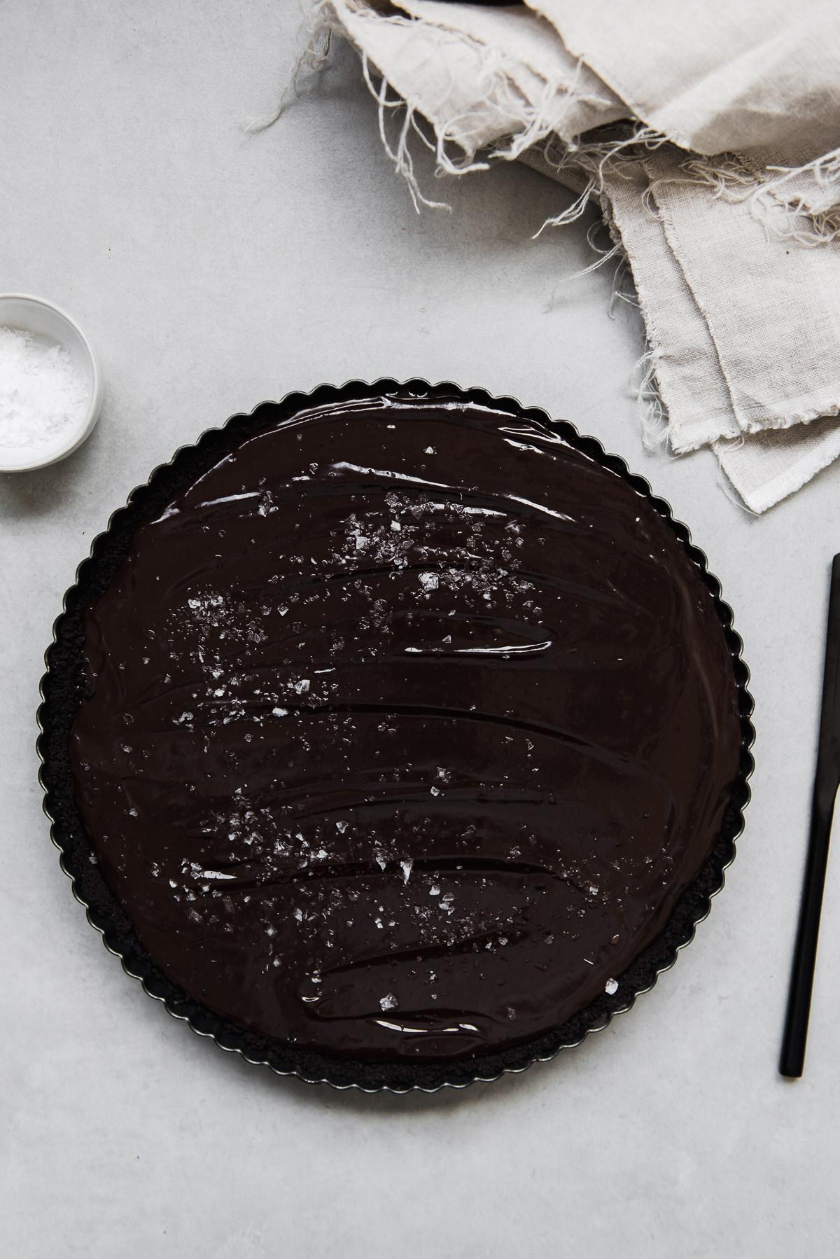 Dark Chocolate Tahini Caramel Tart | Gather a Table