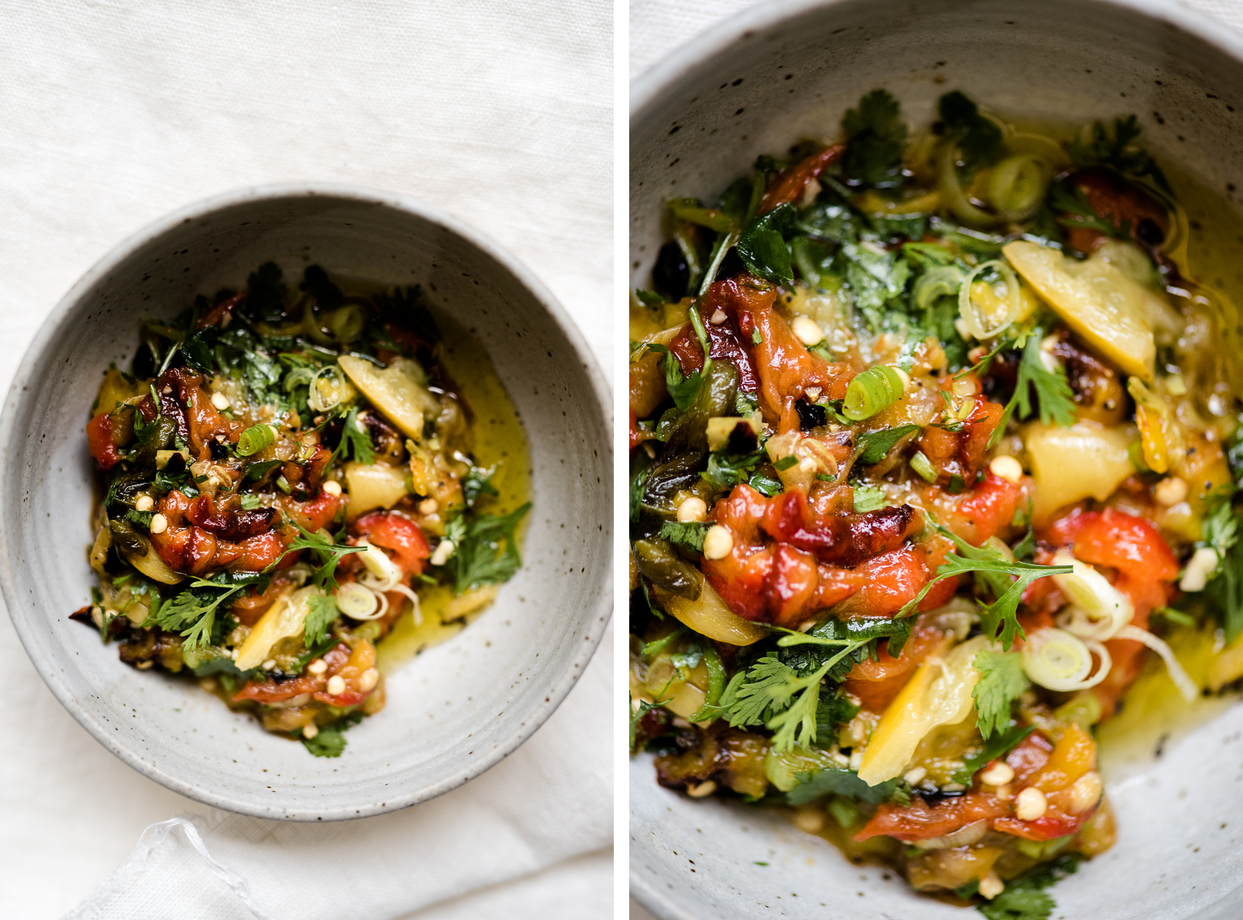 Roasted Peppers Salad with Preserved Lemons, Green Onions and Cilantro | Gather a Table