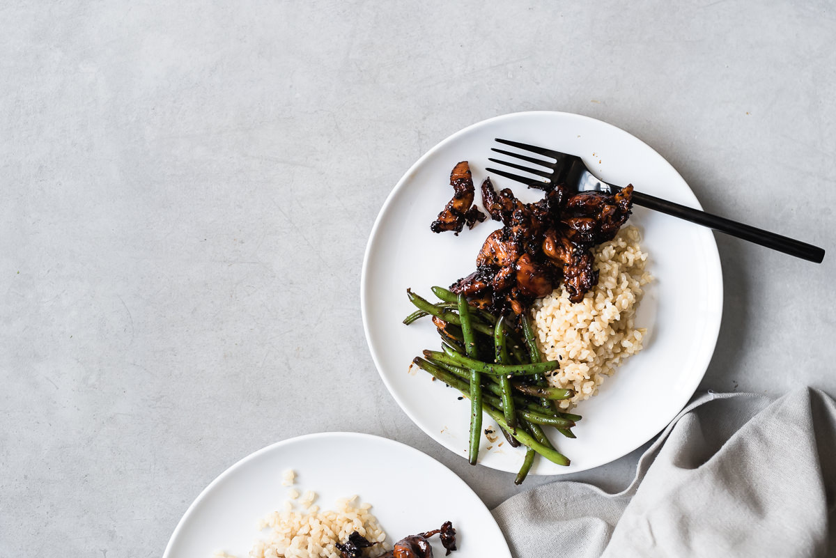 Sticky Asian Chicken Strips with Green Beans and Brown Rice | Gather a Table