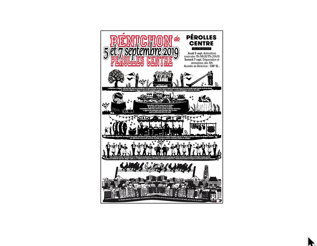 La Bénichon en illustration par Zari Tofigh et texte. Affiche format A3 en vente chez vos commerçants de Pérolles Centre dès le 15 août 2019 - Prix CHF 10.-