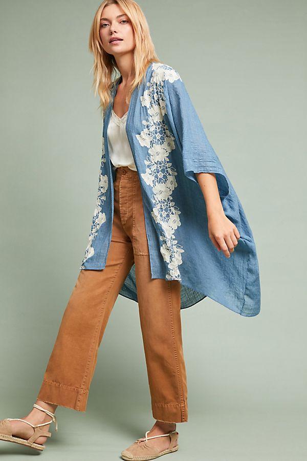 Anthropologie Azurine Floral Kimono | $98