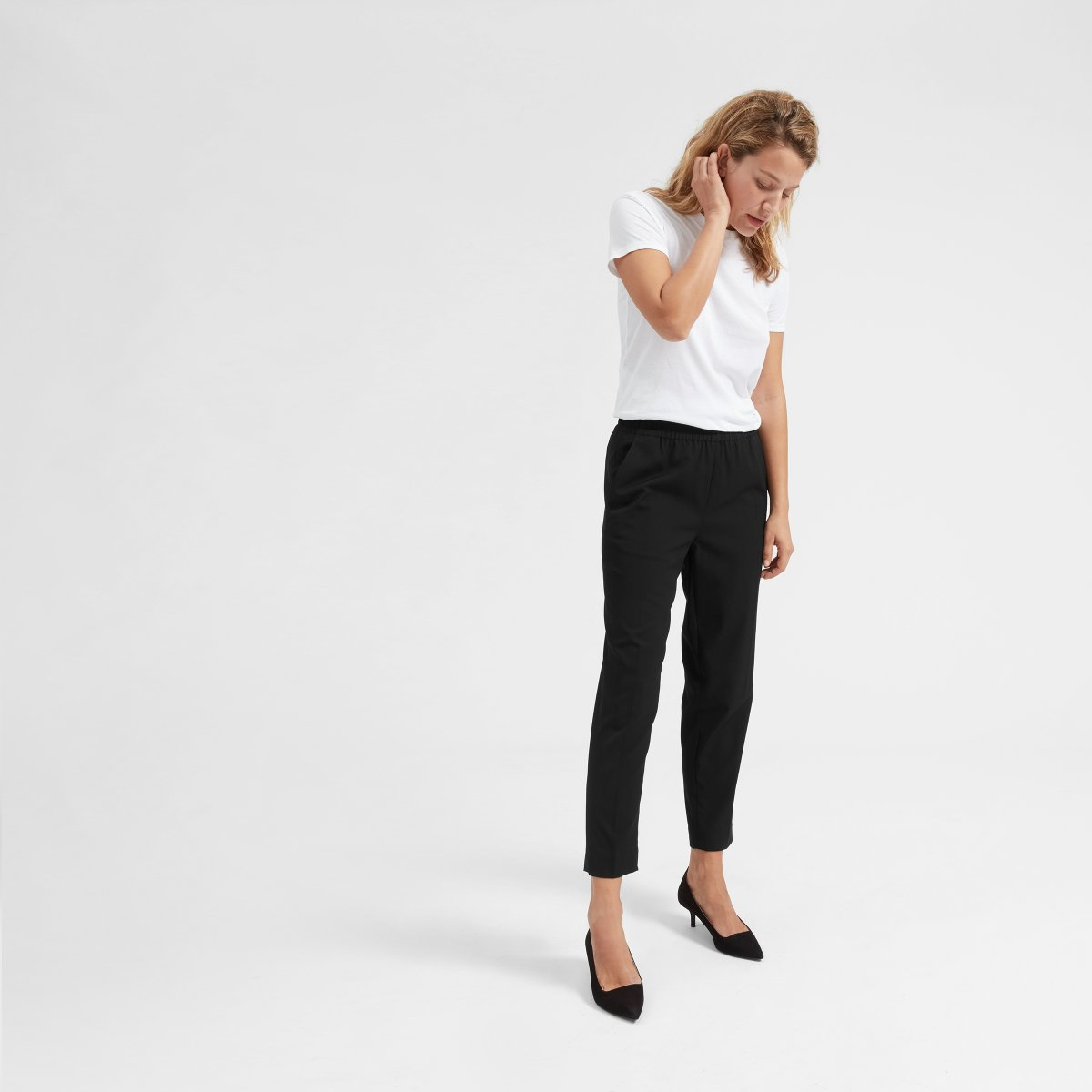 dress pants - This one always gets me since I no longer work in a professional setting. The key is to find a pair of dress pants that can be dressed up or down. They need to be comfortable!
