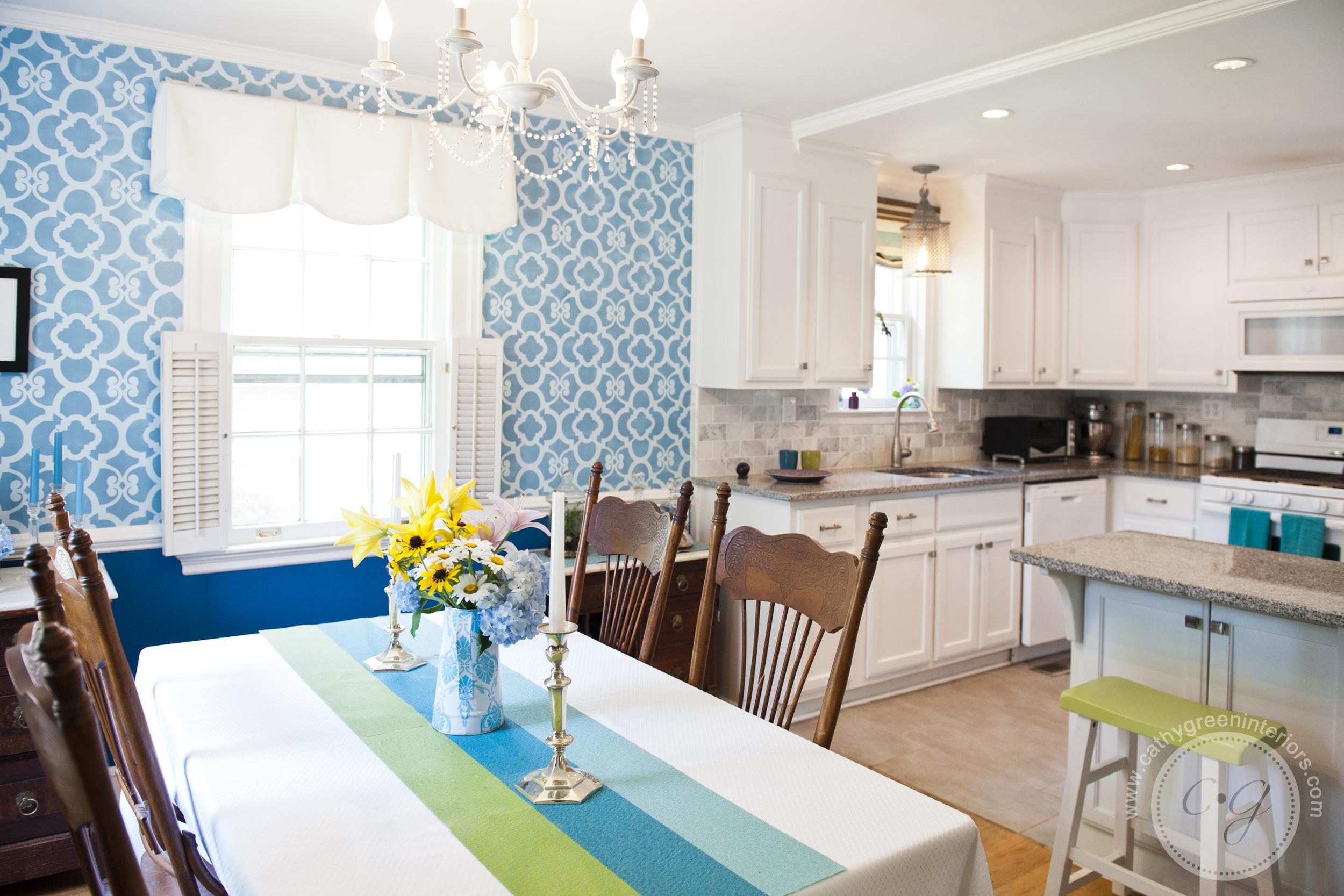 Blue stenciled dining room, Richmond, VA