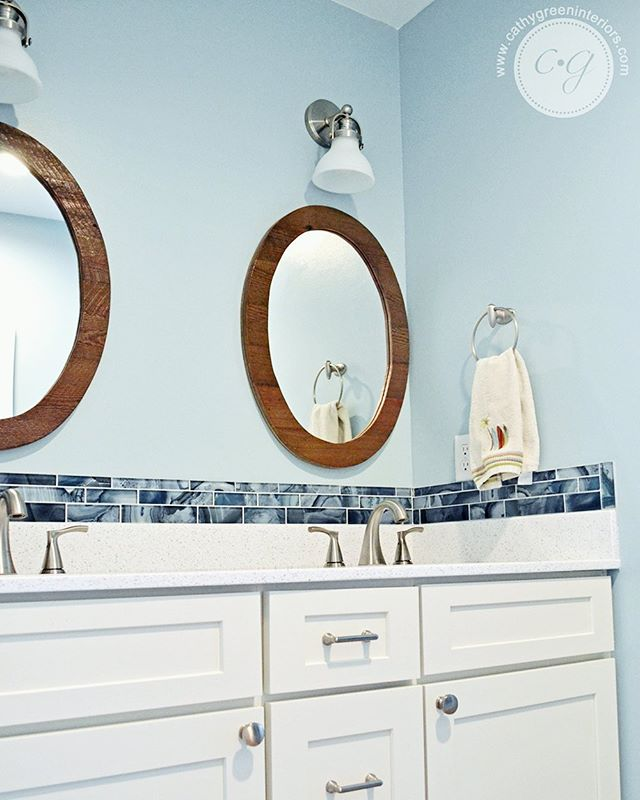 A new post is up on the blog! (Did you even know I had a blog? 😂) It's been a while since I've blogged, but hopefully this one was worth the wait: A fun and functional kids' bathroom renovation for a sister and brother that I've know since they were babies!  Click the link in my bio for the full reveal and the before pictures! . . . #cgichesterfieldkidsbath #cgicolorstories #bathroomrenovation #chesterfieldva #blueandwhitebathroom #kidsbathroom #vintagesurf #lvpflooring #woodlookflooring #tile #bluetile #reclaimedwood #reclaimedwoodmirror #quartzcountertops #whitecabinets #linkinbio #newblogpost