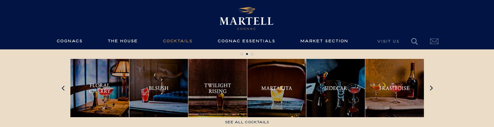 Martell's Large Range of Cocktails SubMenu