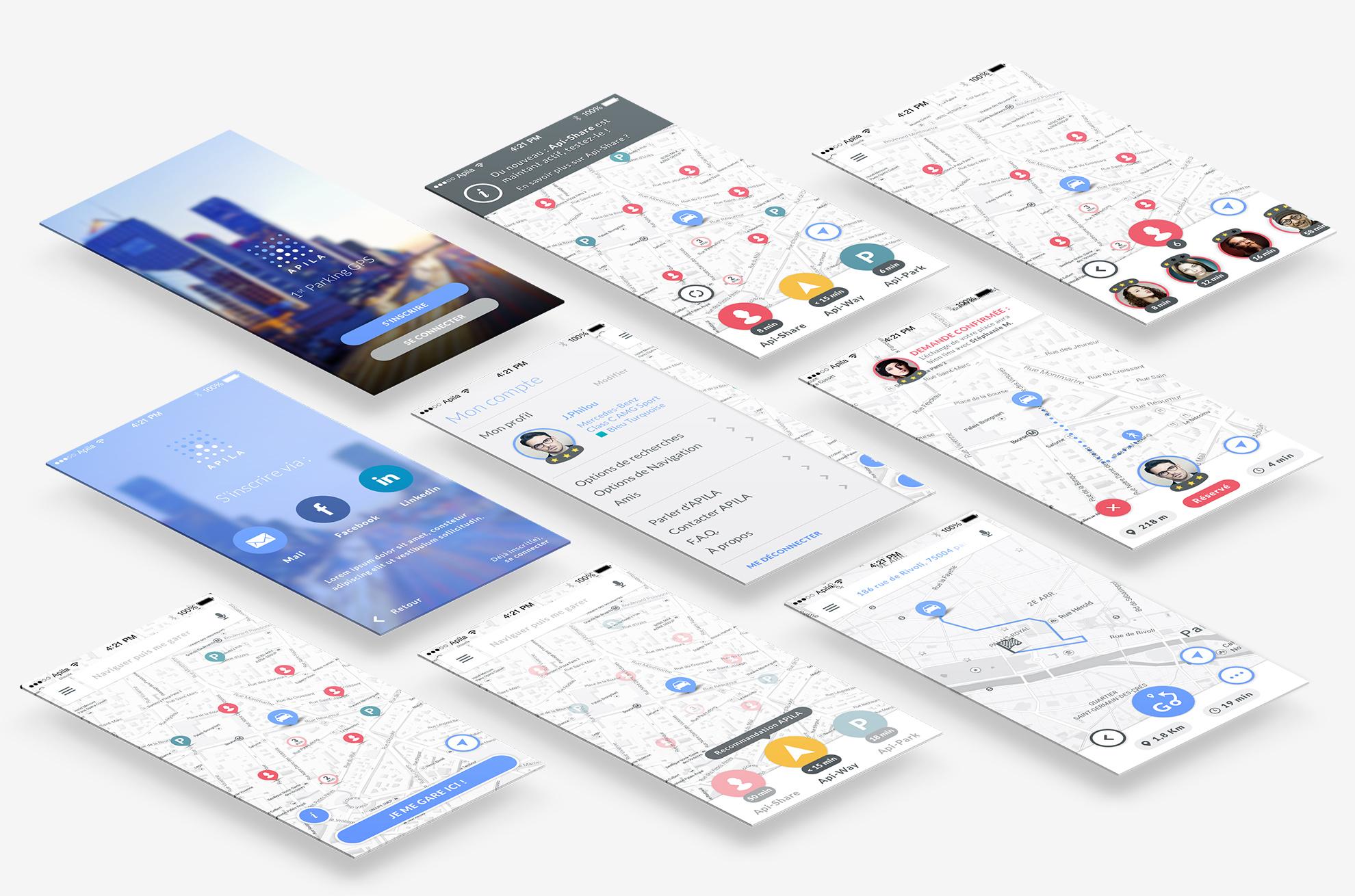 Overview of APILA main screens