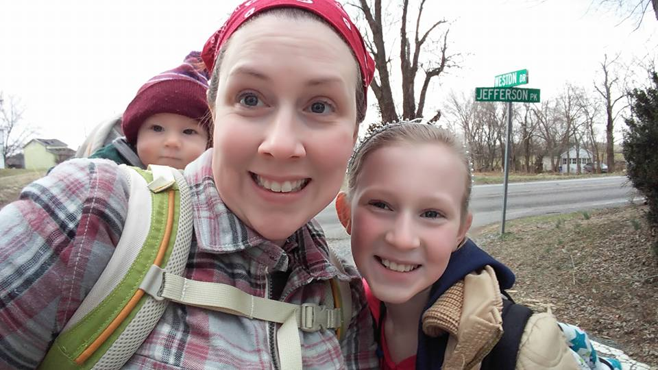 Allie, Siddalee, and baby Wesley await Siddalee's 1st trip on the bus to her new school!