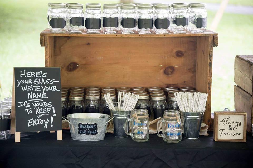 Drink and wedding favor table set up at Marisa and Jon Frye's wedding