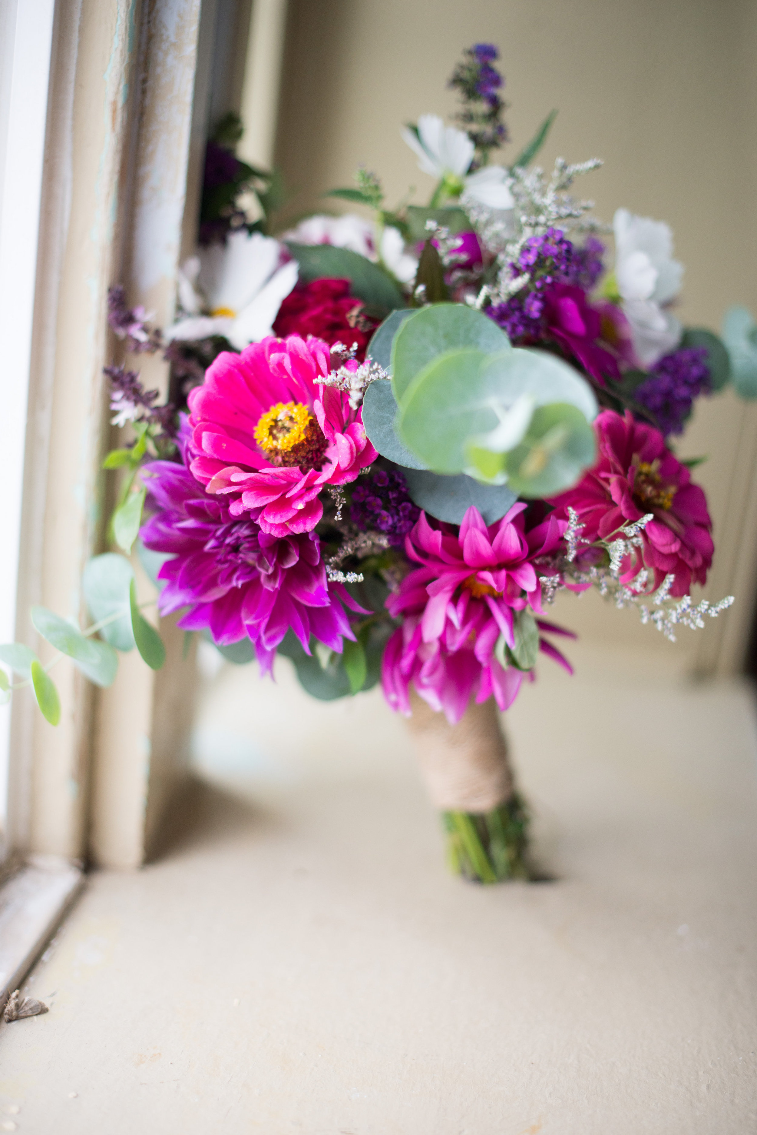 Bridal bouquet created using flowers grown at the Manor