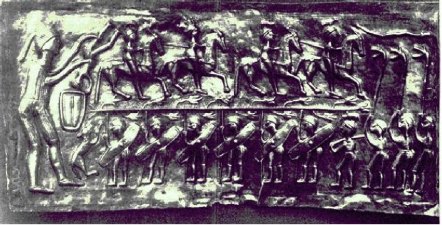 Three Carnyx players [right hand side] as depicted on the Gundestrup Cauldron