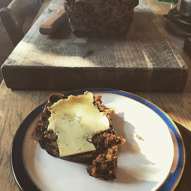 Hot out the oven Bara Brith with a slice of stitchelton from @sticheltondairy  Beautiful cheese Joe, made our Saturday morning!