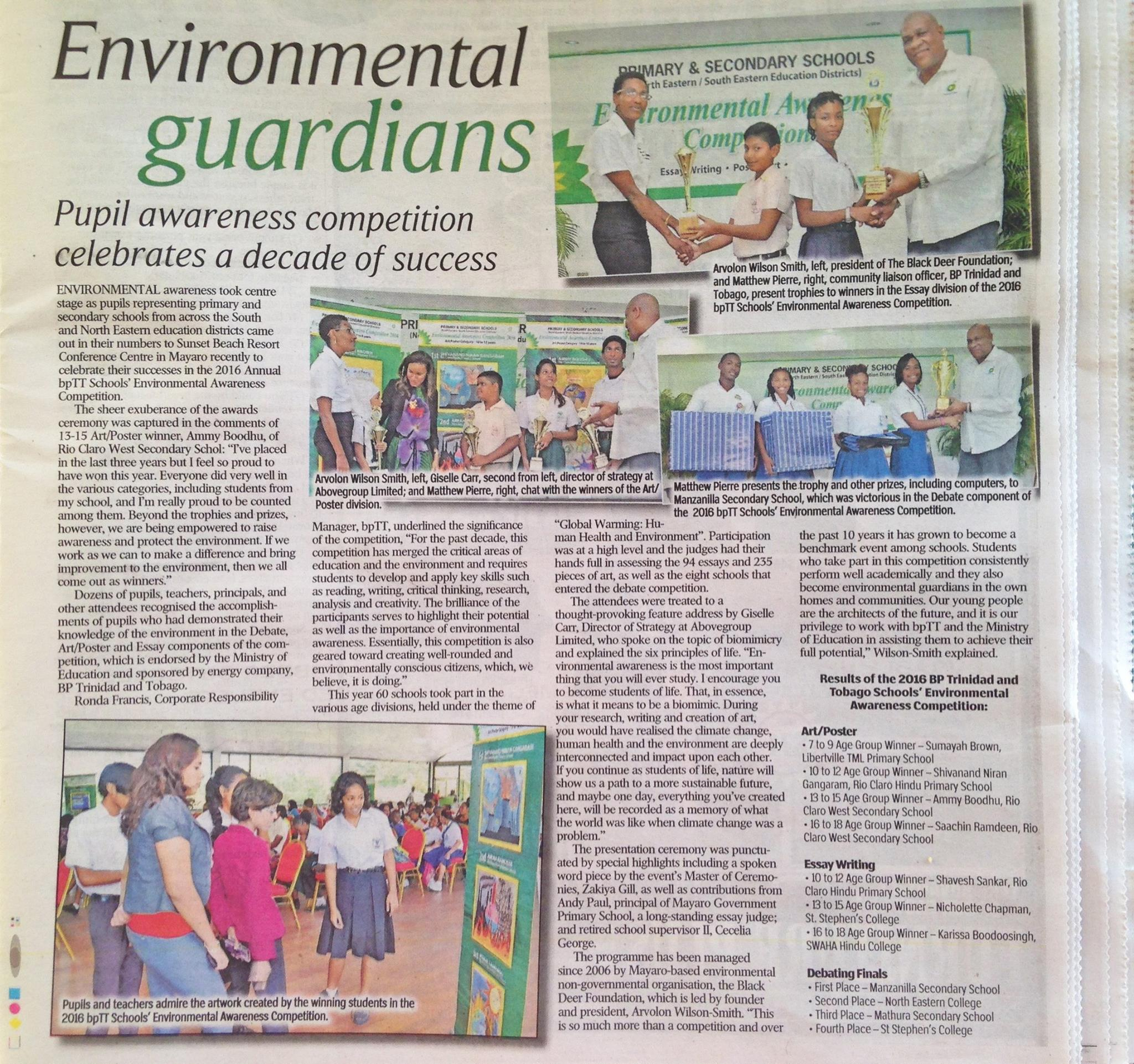 Press coverage of the environmental awareness competition.
