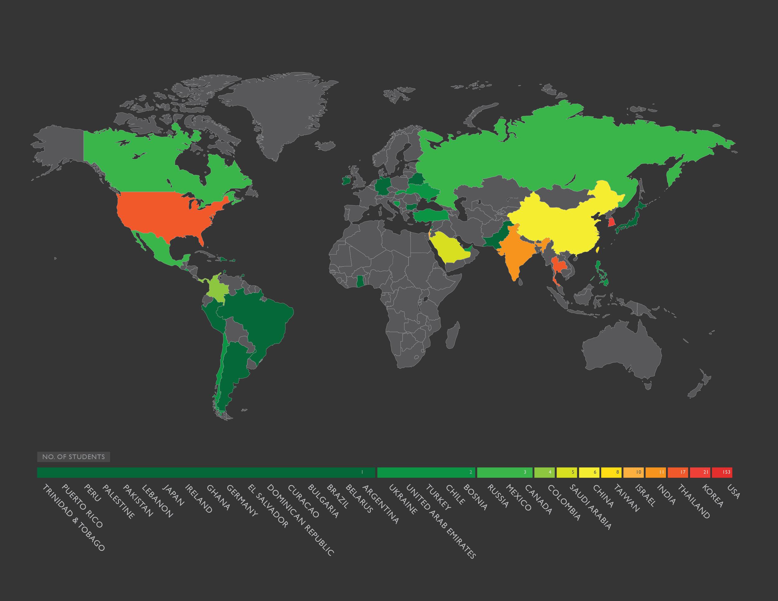 Map of total alumni representation (1995-2011)
