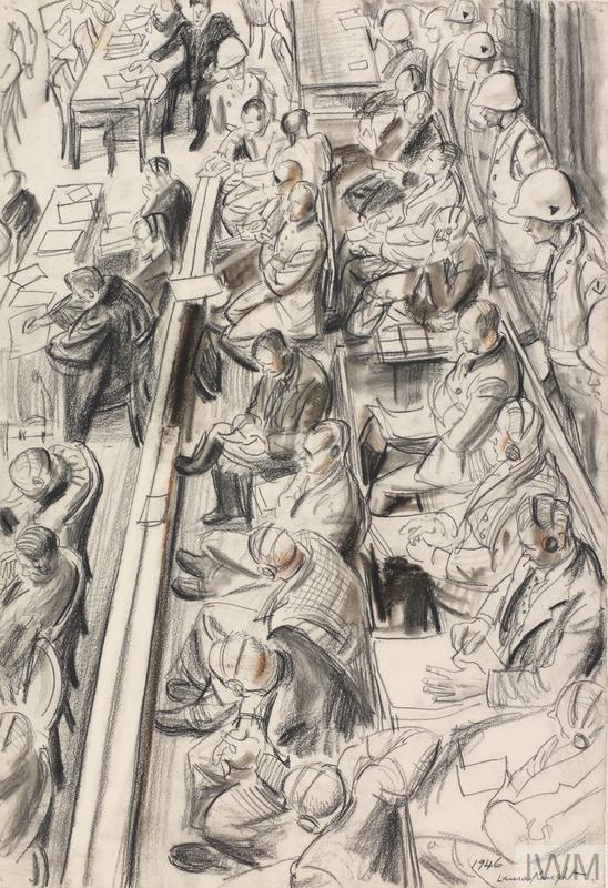 Sketch for 'The Nuremberg Trial' (LD5798) by Laura Knight, 1946 © IWM (Art.IWM ART LD 5930)