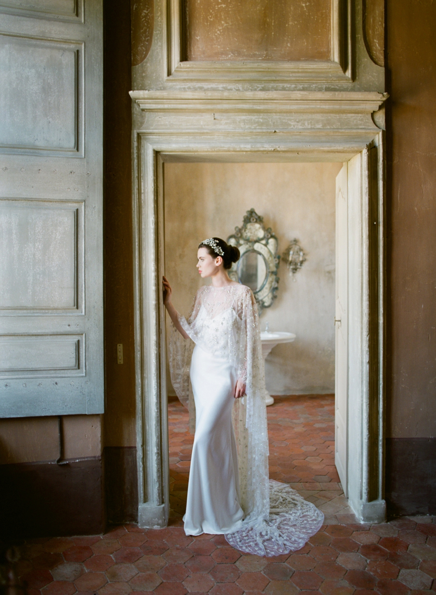 """""""With unspoken grandeur she meanders through the patinated facade of her historic family castle. Magical, ethereal, otherworldly."""" -"""