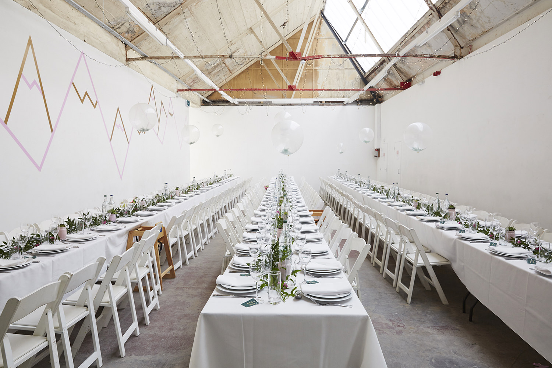 DIY warehouse wedding table layout
