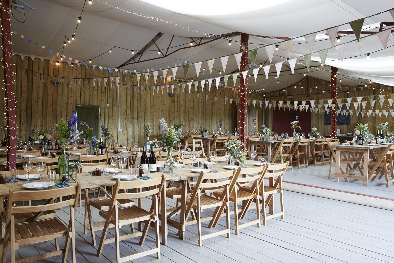 DIY barn wedding table layout
