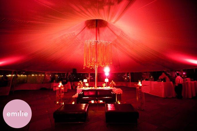 Malloy Weddings | New England wedding lighting | Red LED uplighting with custom ribbon chandelier, Portsmouth NH wedding