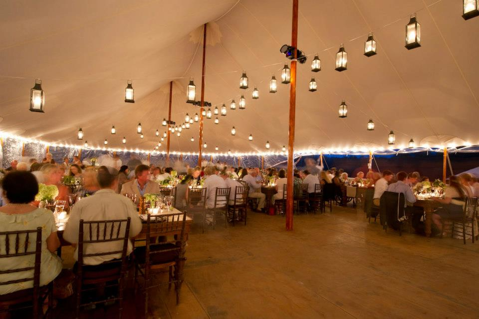Malloy Weddings | New England wedding lighting | Hanging lantern wedding lighting installation, private residence in Vermont