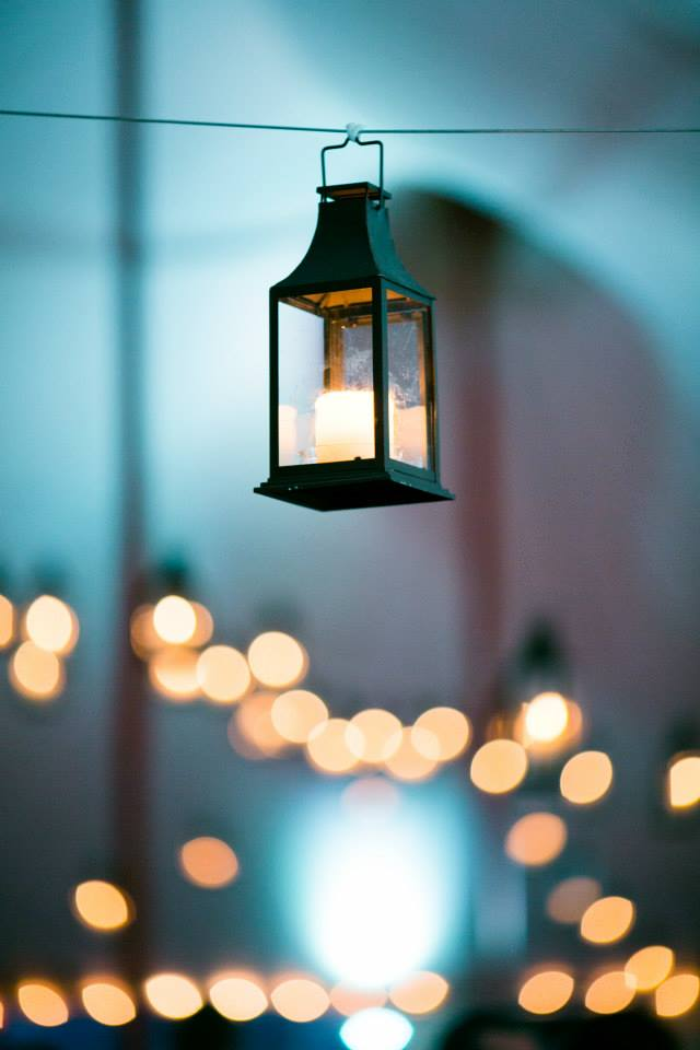 Malloy Weddings | New England wedding lighting | Hanging lanterns and aqua LED wedding uplighting, Private residence York Maine