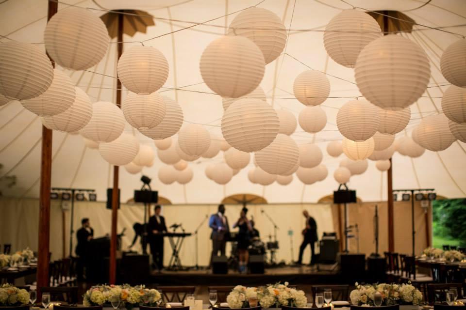 Malloy Weddings | New England wedding lighting | wedding lighting paper lantern installation over the dance floor, private residence Rye NH