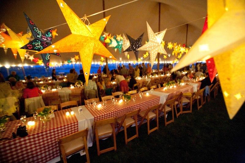 Malloy Weddings | New England wedding lighting | Welcome wedding lobster bake, Rod & Gun Club, Martha's Vineyard