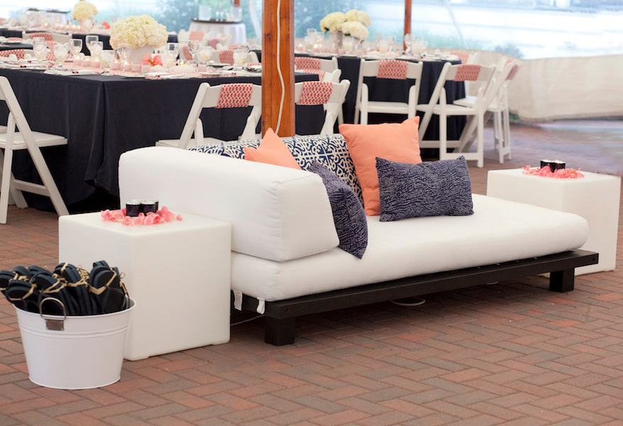 Malloy Weddings | New England wedding furniture rentals | White cotton outdoor wedding lounge furniture