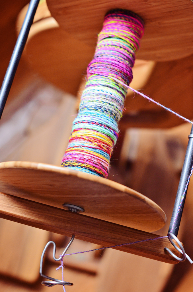 Spinning Art Yarn on a Majacraft Aura Spinning Wheel with an Overdrive Head