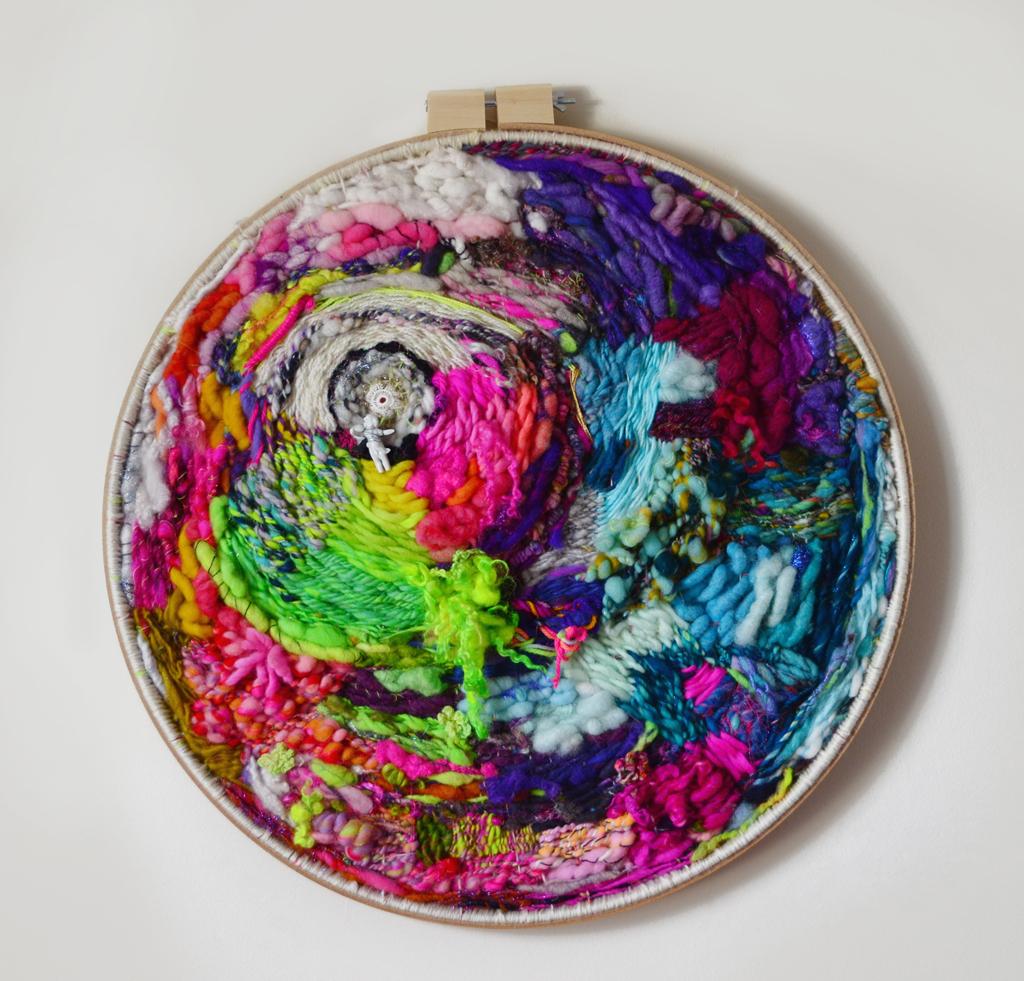 """Secret Garden in the Eye of the Storm"" Circular Weaving with Handspun Yarn by Elysa Darling 2014"