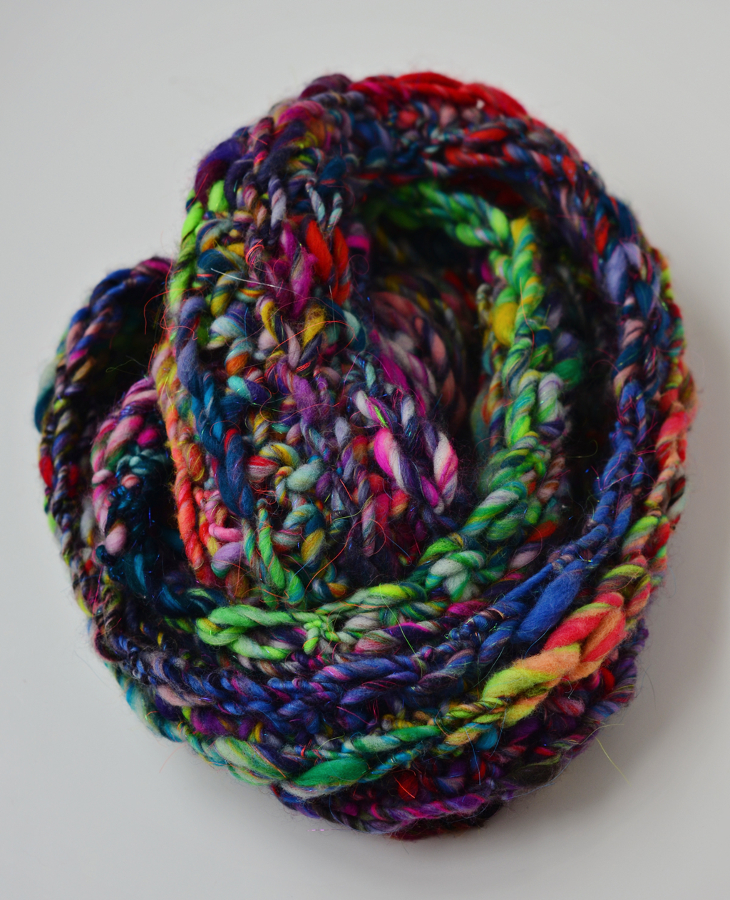 Crochet Loop Infinity Scarf Using Bulky Handspun Art Yarn