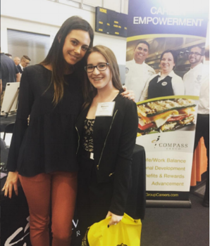 "I got to experience two very important ""firsts"" with Makayla... her first time on an airplane as we traveled across the country to San Fran, and here is her first career fair. She and I worked closely to find her dream culinary career!"