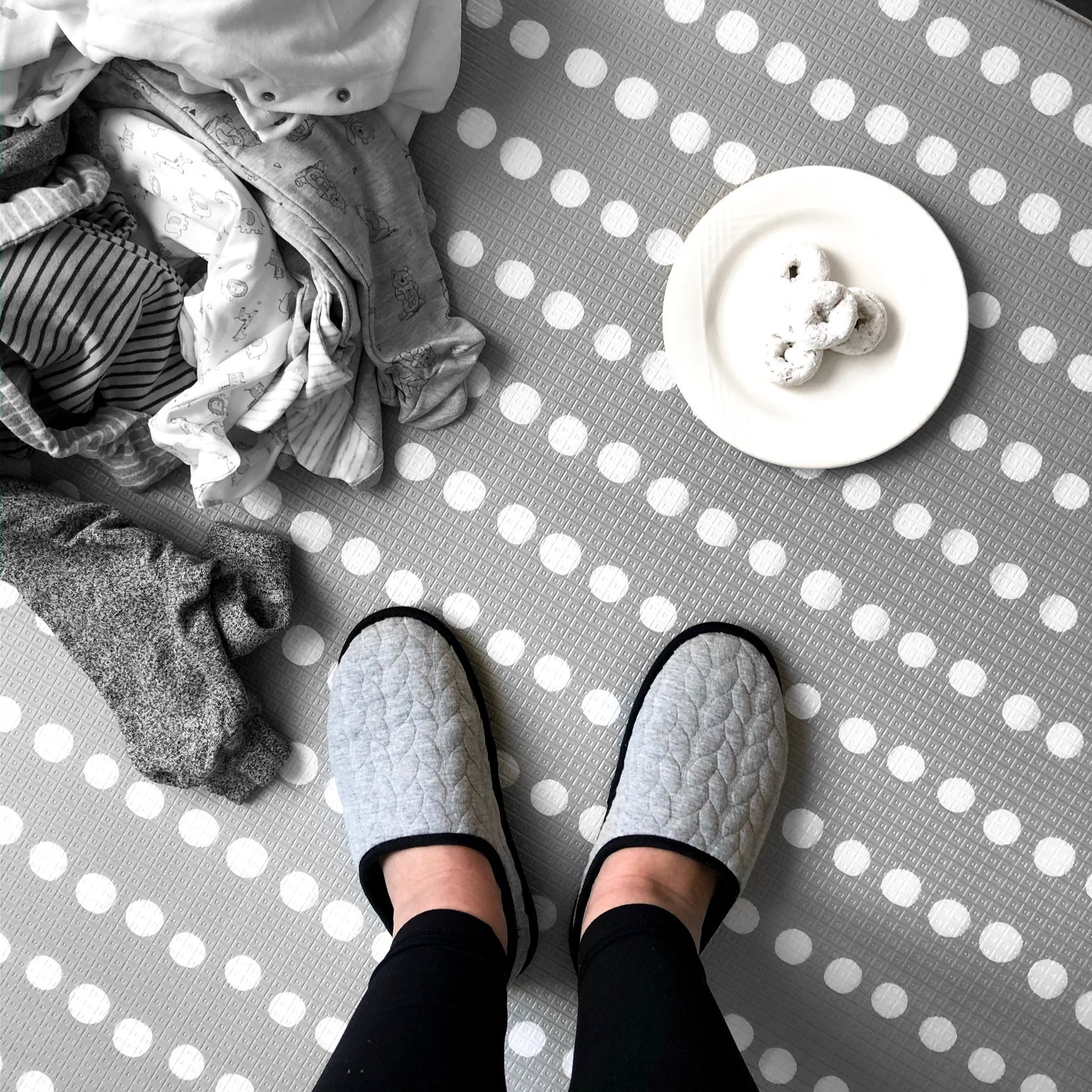 Mom life at its finest: laundry and donuts LOL. But at least I'm comfy in my new slippers!