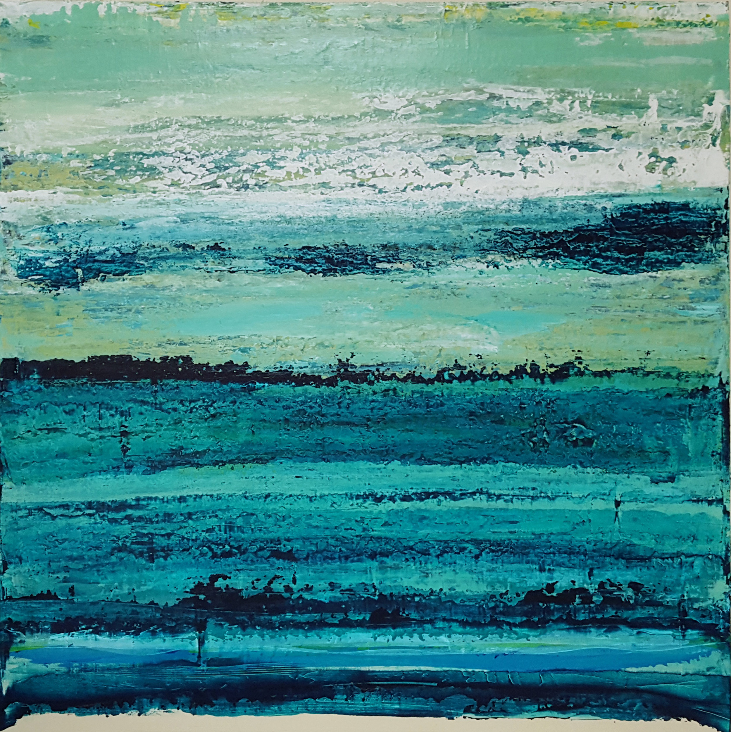 Now Sold. - Much gratitude to a loyal private collector and friend. 'Swimming in the Turquoise', is an original acrylic painting on board. 30x30 inches x 2 inches. Request a fine art print.