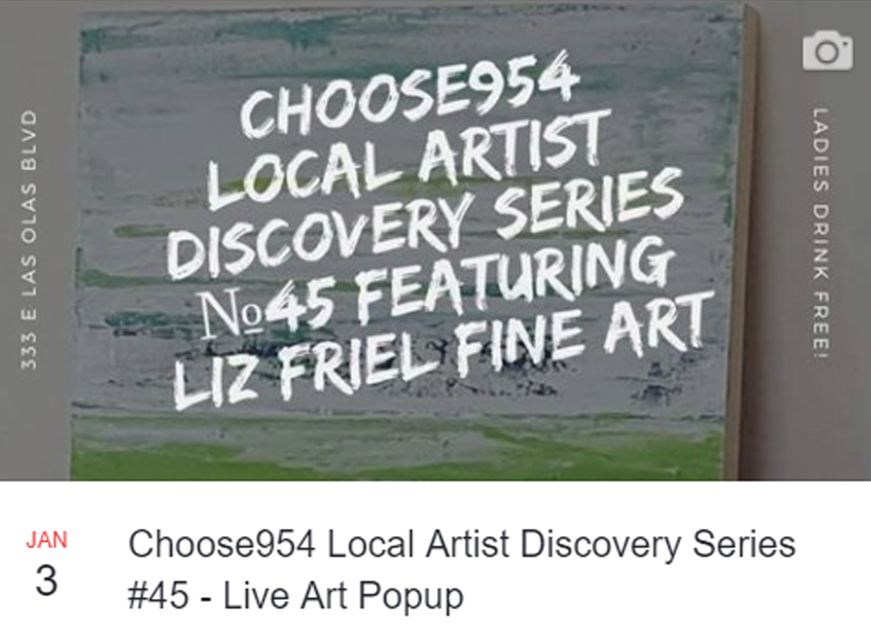 Live Painting Event!   - Local Artist Discovery Series - Artist #45 and the first of the new year! January 3rd I painted live at a local chic restaurant lounge called YOLO outside. Florida during winter is usually still warm. Not this past week! So it was ironic and it felt like a challenge to see how I would handle painting with mixed acrylics outdoors, in the cold weather. Brr. Somewhere in the 50's in south Fl.It went just fine. t went great! Fun and exciting thanks to Choose954.com, YOLO Restaurant and Evan Snow of Fort Lauderdale, FL.New paintings were started on canvas and another on gesso board. Follow my blog or social media to see how they progress.Available to purchase.Yolo. You only live once!