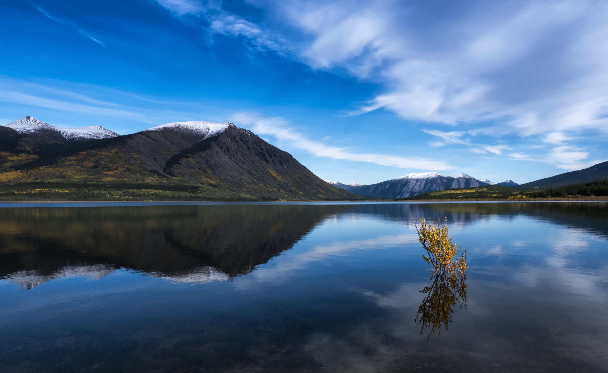 Beautiful reflections in Carcross Yukon by Chris Pepper