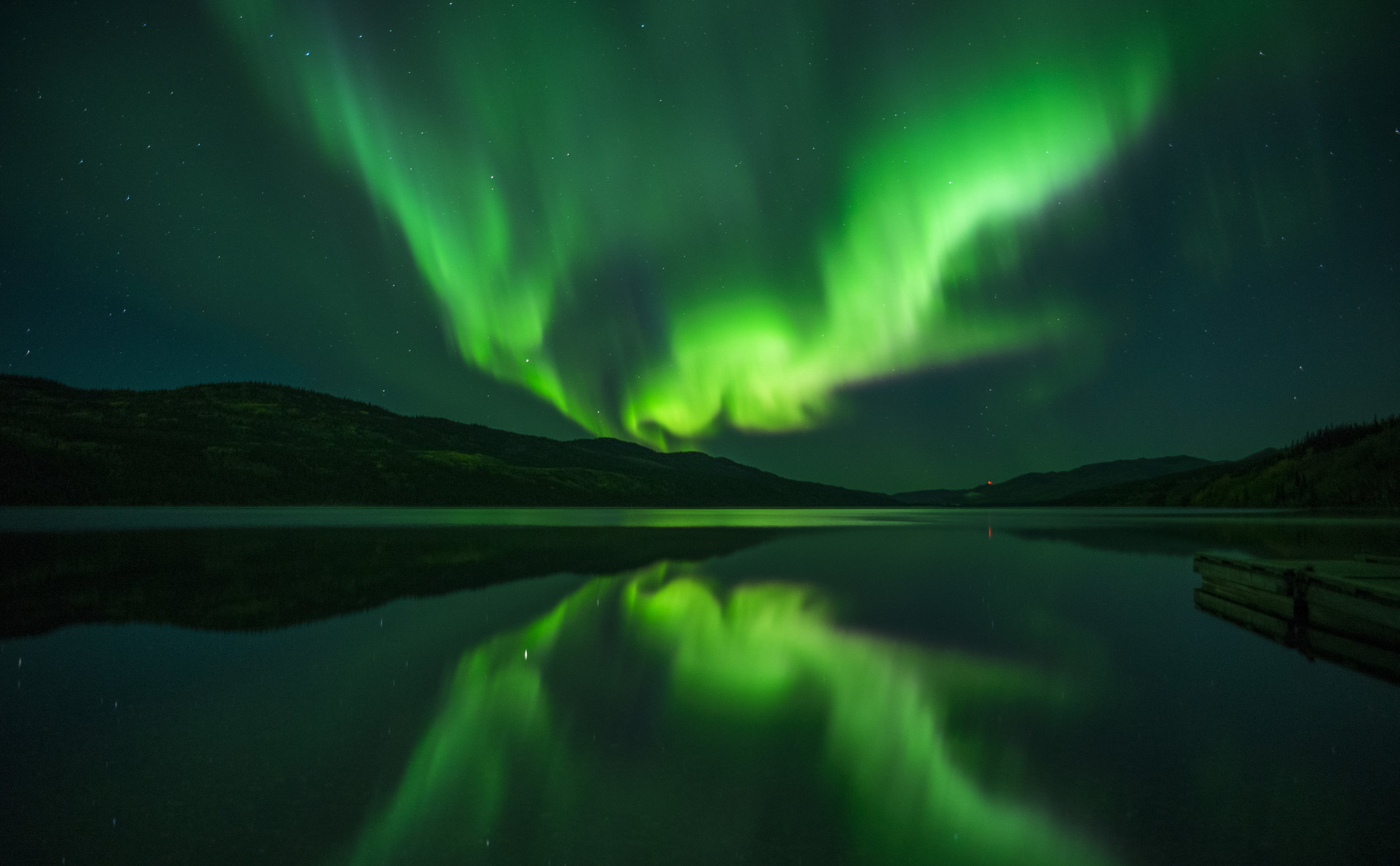 Northern lights reflection
