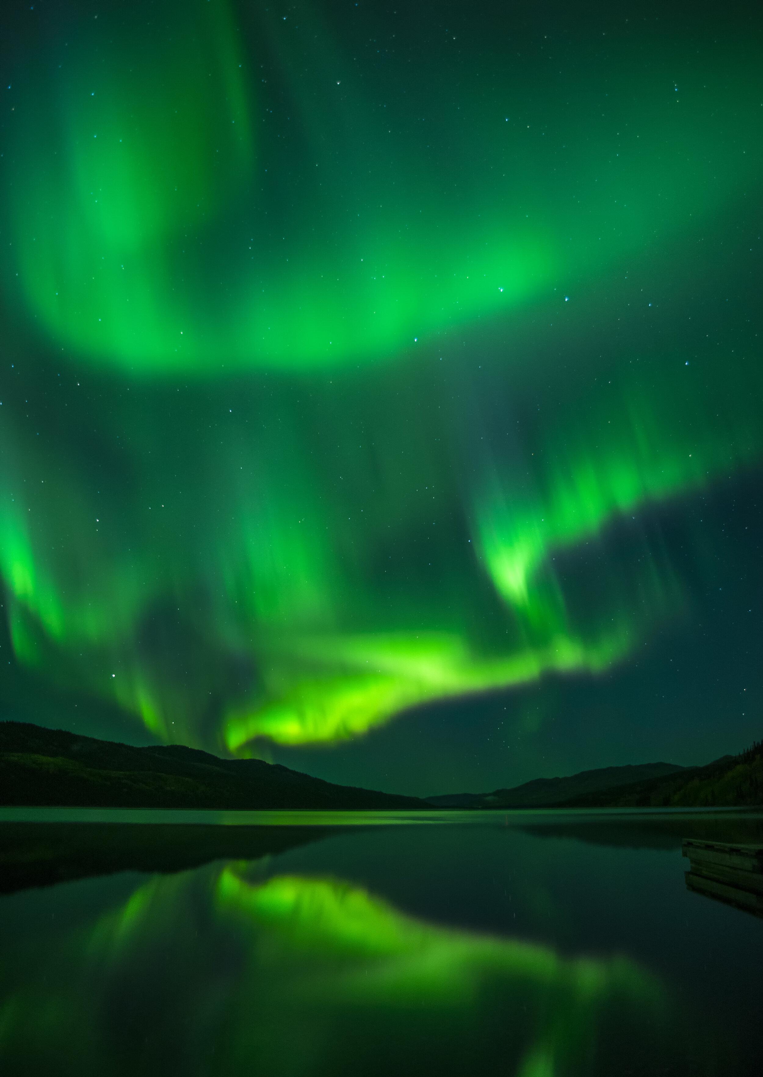 Blazing northern lights in Yukon