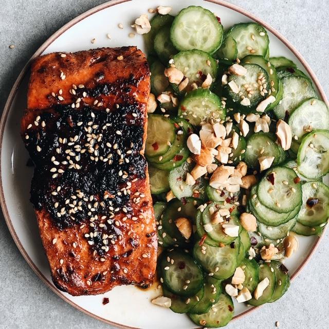 easy cucumber salad (paleo friendly, vegan).