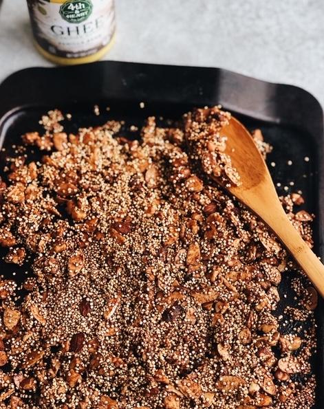 crunchy maple ghee granola (gluten free, paleo friendly).