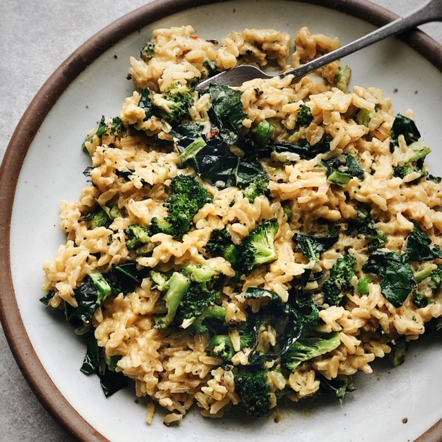 vegan tahini cheesy broccoli rice