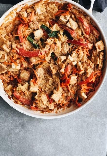 vegan spaghetti squash pad thai (gluten free).