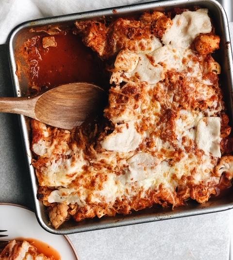 chicken and cauliflower spaghetti squash bake (gluten free).