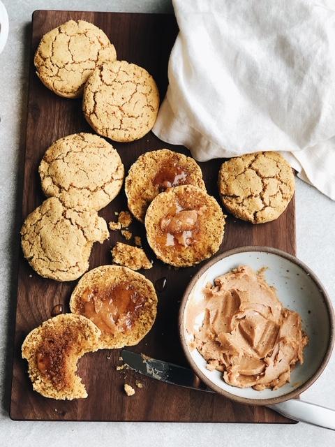 grain free honey biscuits + cinnamon honey butter (paleo, gluten free).