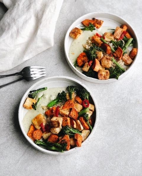 easy tofu veggie tray bake with lemon basil tahini cream sauce (vegan, gluten free, nut free).