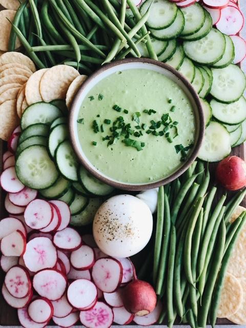 spring crudités platter with the best lemon tahini basil dip (vegan, gluten free, paleo).