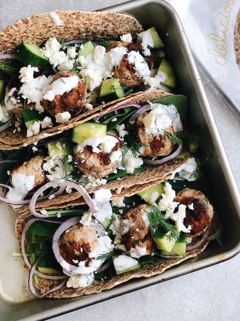 easy greek turkey meatballs + homemade tzatziki