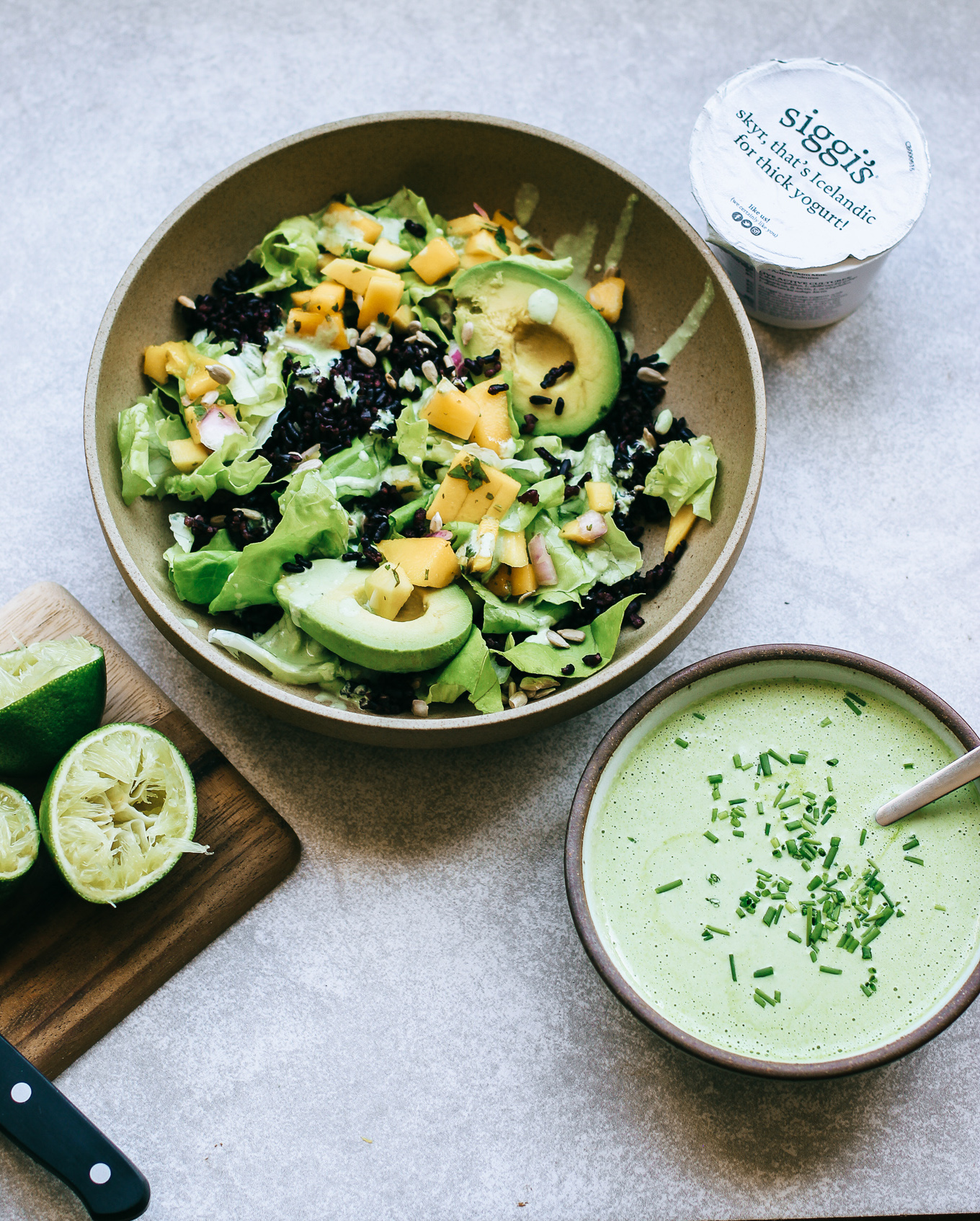 light + fresh chili lime yogurt dressing.