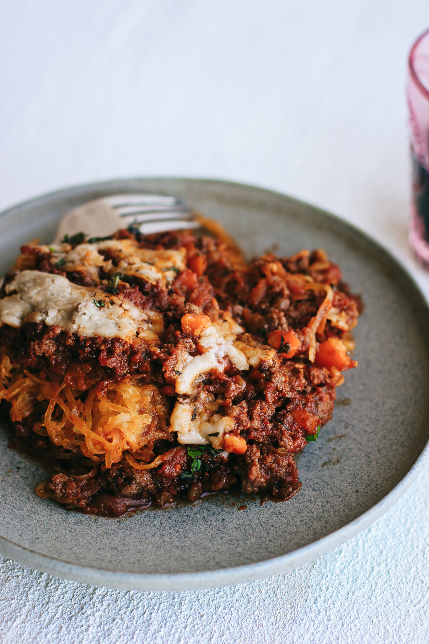 simple red wine meat sauce spaghetti squash bake (dairy free, gluten free).