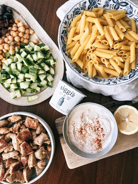 simple healthy greek high protein pasta salad (gluten free).